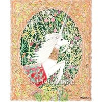 A Unicorn Escapes with millefleur archival print 85 x by LiseWinne