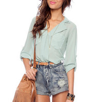 Solid Pocket Blouse in Sage :: tobi