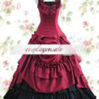 Red Bow Ruffles Cotton Classic Lolita Dress [T110154] - $73.00 : Cosplay, Cosplay Costumes, Lolita Dress, Sweet Lolita