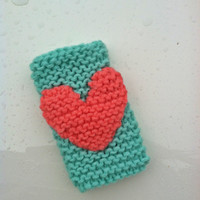 Knitted Cell Phone Cover iPhone Socks with HEART in Mint &amp; Coral  - Fits ALL iPhones, Galaxy, iPods, Kleenex Holder - Stocking Stuffers