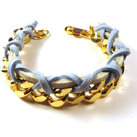Gold Chain Bracelet with Crossed Pastel Blue Suede and Light Grey Suede Strap