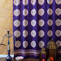 Purple Blue Shower Curtain, Moroccan Shower Curtain, Vintage Medallion Shower Curtain
