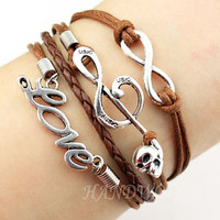 Silvery Musical Note Bracelet Infinity Karma Bracelet Love Bracelet Leather Braided Bracelet Personalized Charm Bracelet Gift-N1180