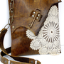 Boho Leather Messenger Bag with Crochet Doily and Antique Key - Medium - Made To Order