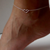 Sterling Silver Heart Anklet Delicate by vintagestampjewels