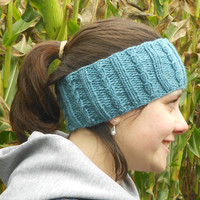 Dusty Blue Knit Earwarmer
