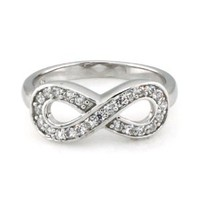 925 Sterling Silver Graduation Infinity Promise Ring w/ Cubic Zirconia - Available Size: 4, 4.5, 5, 5.5, 6, 6.5, 7, 7.5, 8, 8.5, 9, 9.5, 10: Jewelry