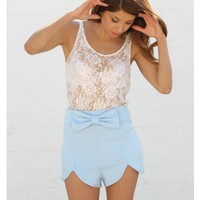 Baby Blue Bow Shorts