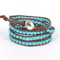 Blue Beaded Bracelet Long Bracelet