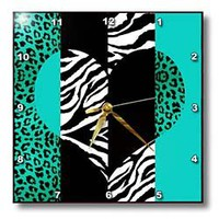 3dRose dpp_35445_1 Aqua Blue Black and White Animal Print Leopard and Zebra Heart Wall Clock, 10 by 10-Inch