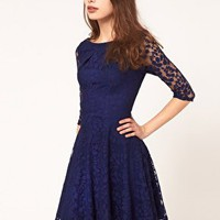 ASOS | ASOS Lace Mini Dress with Skater Skirt at ASOS