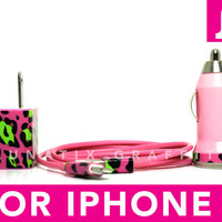 TRIPLE THREAT iPhone 5 Charger - Funky Cheetah Print on Pink iPhone 5 Charger