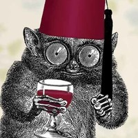 Drinking With My Fez Art Magnet by franticmeerkat on Etsy