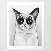 Grumpy Cat Art Print, Tard Tardar Sauce and Gene Simmons by Olechka