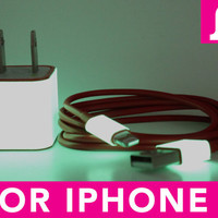 2in1 Glow in the Dark Red iPhone 5 Charger - iPad Mini Charger - iPod Charger