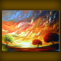OOAK lollipop tree stretched canvas giclee print of by mattsart