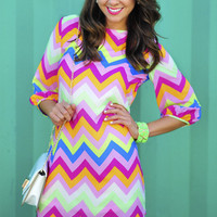 *Life Of The Party Chevron Dress: Multi* | Hope&#x27;s