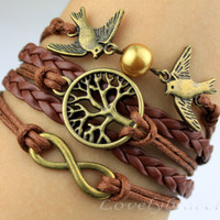 Antique bronze infinity bracelet, jewelry, couple bird bracelets, bracelet wishing tree, the tree of life, give gifts to friends
