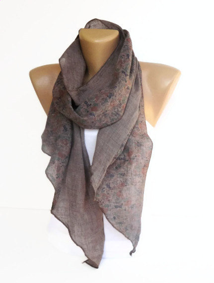 taupe brown women scarf  fashion accessory  long scarves  floral  Brown Scarves For Women