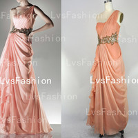 One Shoulder Sweetheart with Crystal and Beading Chiffon Long Prom Dresses Evening Gown, Evening Dresses, Wedding Party Dresses