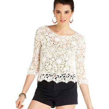 Say What? Juniors Top, Three-Quarter Sleeve Crochet-Knit - Juniors Tops - Macy's