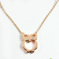 ladylove  [gryxh310000317]hollow owl rh8nestone necklace