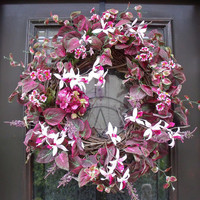 Spring Door Wreath - Spring Wreaths - Dancing Orchids In Paradise - Summer Wreath Spring - Front Door Wreath