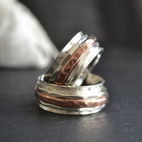 Threesome Spinner silver and copper ring - Wedding bands