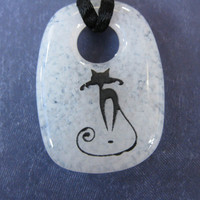 Cat Necklace, Cat Jewelry, Black and White Jewelry, Etsy Fashion  - Here Kitty - 4182 -3
