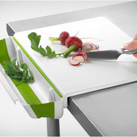 Cutting Board with Collapsible Scrap Bin