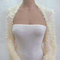 Hand Knitted Long Sleeve( Ivory) Bolero, Shrug by Arzu&#x27;s Style