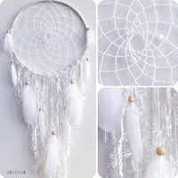 The White Arctic Fox Native Woven Dreamcatcher