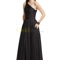 [US$156.93] Black A-line One-shoulder Pleated Split Chiffon Evening Dress