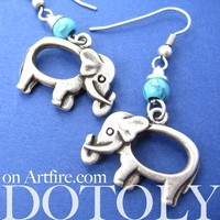 Simple Elephant Animal Dangle Earrings in Silver with Blue Beads