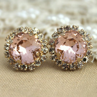 Crystal stud Petite vintage pink earring - 14k plated gold post earrings real swarovski rhinestones .