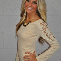 Laced Shoulder Top Tan