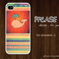 Whale on aztec pattern : Handmade Case for Iphone 4/4s , Iphone 5 Case Iphone