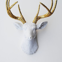 New Year's Decoration - White Faux Taxidermy - The Winston - White W/ Gold Glitter Antlers Resin Deer Head- Stag Resin White Faux Taxidermy