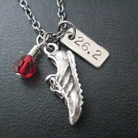 RUN 26.2with Race Month Crystal Charm - Running Necklace on 18 inch gunmetal chain - Choose Your Race Month Crystal - Marathon Jewelry