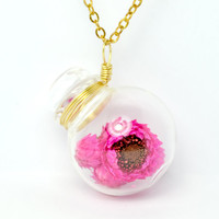 Pink dried flower in blown glass jar long necklace