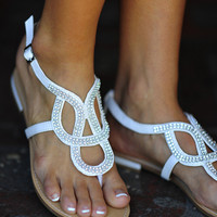 Follow My Lead Sandals: White/Silver | Hope&#x27;s