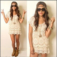 Vtg 70s Indie BOHO Gypsy Hippie Festival Beige Lace Embroidery Cutout Dress