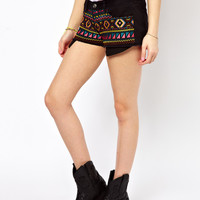 Neon Aztec Embroidered Short