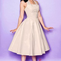 BallGown Halter Tea-length Satin Wedding Dress with Bow at Msdressy