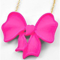 Girly Pink Bow Necklace