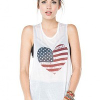 Brandy ♥ Melville |  Kate Flag Heart Tank - Just In