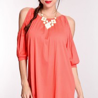 Coral Bare Shoulders Tunic Top