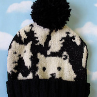 Black and White Kitty Winter Hat