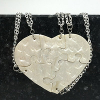 Heart Shaped Puzzle Necklaces Set of 5 Interlocking Necklaces Polymer Clay