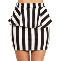Black/White Vertical Striped Peplum Skirt